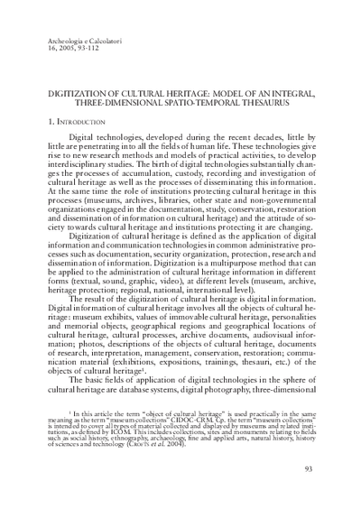 Digitization of cultural heritage: model of an integral, three-dimensional spatio-temporal thesaurus