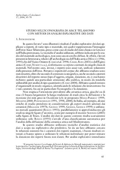 Studio sull'iconografia di Aiace Telamonio con metodi di analisi esplorative dei dati