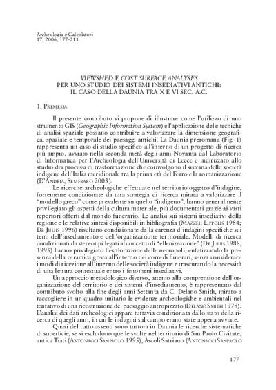 Viewshed e Cost Surface Analyses per uno studio dei sistemi insediativi antichi: il caso della Daunia tra X e VI sec. a.C.