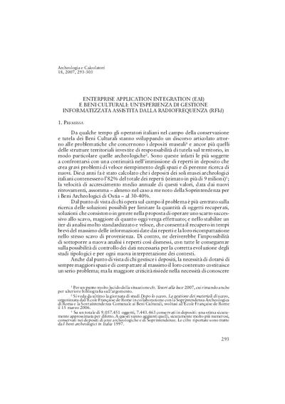 Enterprise Application Integration (EAI) e Beni Culturali: un'esperienza di gestione informatizzata assistita dalla radiofrequenza (RFId)