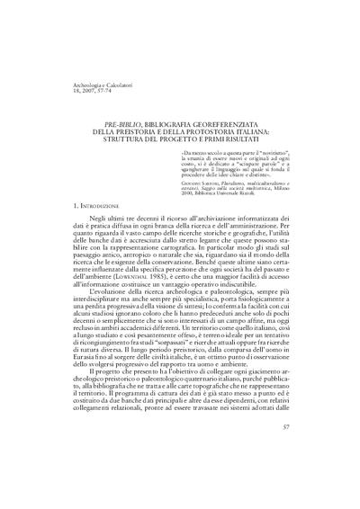 Pre-Biblio, bibliografia georeferenziata della Preistoria e della Protostoria italiana: struttura del progetto e primi risultati