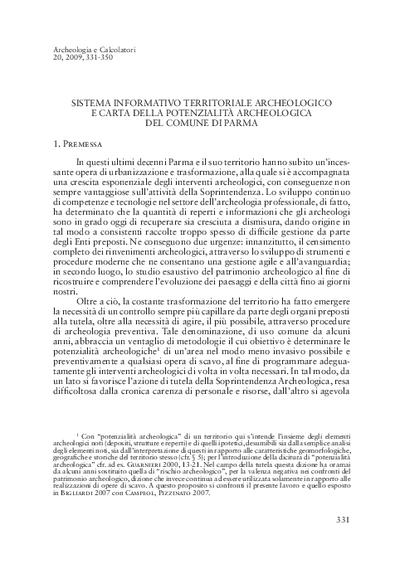 Sistema Informativo Territoriale Archeologico e Carta della Potenzialità Archeologica del Comune di Parma