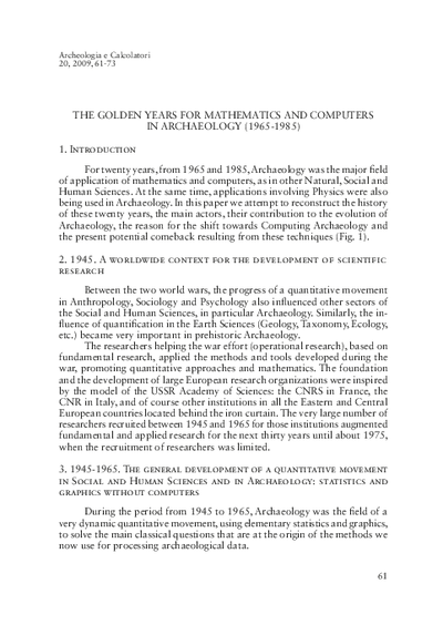 The golden years for mathematics and computers in archaeology (1965-1985)