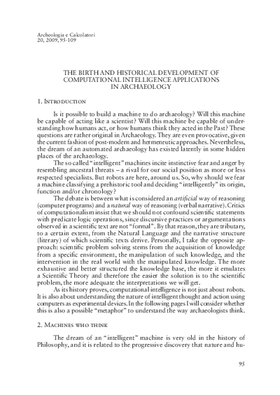 The birth and historical development of computational intelligence applications in archaeology