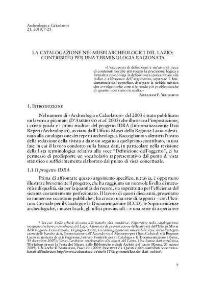La catalogazione nei musei archeologici del Lazio: contributo per una terminologia ragionata