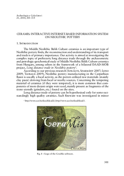 CeraMIS: interactive Internet-based information system on Neolithic pottery