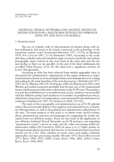 Artificial Neural Networks and ancient artefacts: justifications for a multiform integrated approach using PST and Auto-CM models