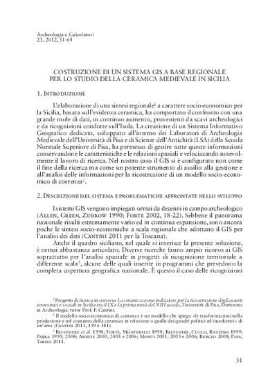 Costruzione di un sistema GIS a base regionale per lo studio della ceramica medievale in Sicilia