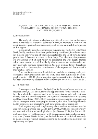 A quantitative approach to Ur III Mesopotamian figurative languages: reflections, results, and new proposals.