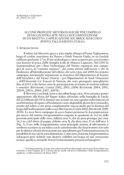 Alcune proposte metodologiche per l'impiego di un GIS intra-site nella documentazione di un relitto: l'applicazione sul brick Mercurio (Punta Tagliamento, Italia).