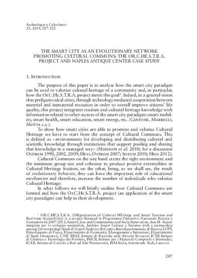 The smart city as an evolutionary network promoting cultural commons: the Or.C.He.S.T.R.A. project and Naples antique center case study.