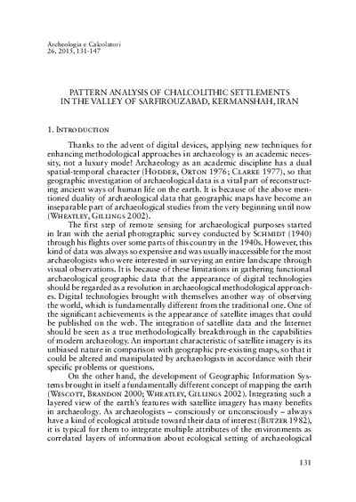 Pattern analysis of Chalcolithic settlements in the valley of Sarfirouzabad, Kermanshah, Iran.