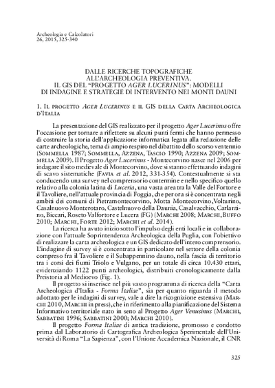 Dalle ricerche topografiche all'archeologia preventiva. Il GIS del progetto Ager Lucerinus: modelli di indagine e strategie di intervento nei Monti Dauni.