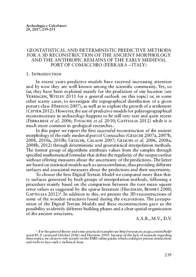 Geostatistical and deterministic predictive methods for a 3D reconstruction of the ancient morphology and the anthropic remains of the early medieval port of Comacchio (Ferrara - Italy)