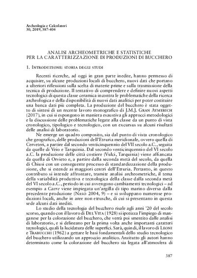 Analisi archeometriche e statistiche per la caratterizzazione di produzioni di bucchero
