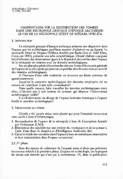 Observations sur la distribution des tombes dans une nécropole grecque d'époque archaïque: le cas de la nécropole Ouest de Mégara Hyblaea