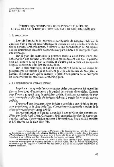 Études des proximités dans l'espace funéraire: le cas de la nécropole occidentale de Mégara Hyblaea