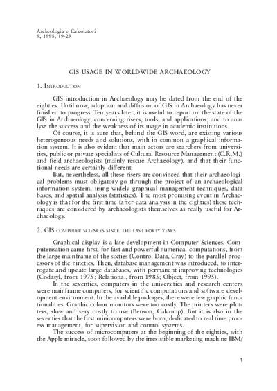 GIS usage in worldwide archaeology