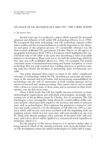 GIS usage in UK archaeology mid-1997: The Caere survey