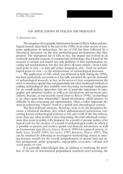 GIS applications in Italian archaeology