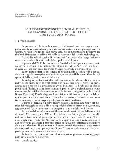 Archeo-restituzioni territoriali e urbane, valutazione del rischio archeologico e software open source