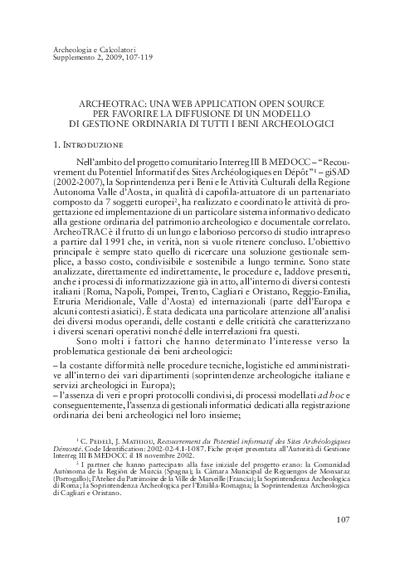 ArcheoTRAC: una web application open source per favorire la diffusione di un modello di gestione ordinaria di tutti i beni archeologici