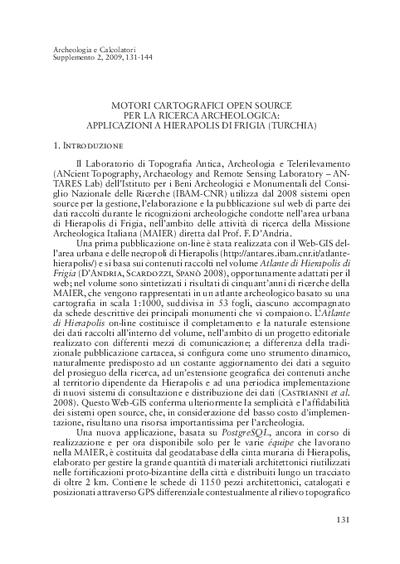 Motori cartografici open source per la ricerca archeologica: applicazioni a Hierapolis di Frigia (Turchia)