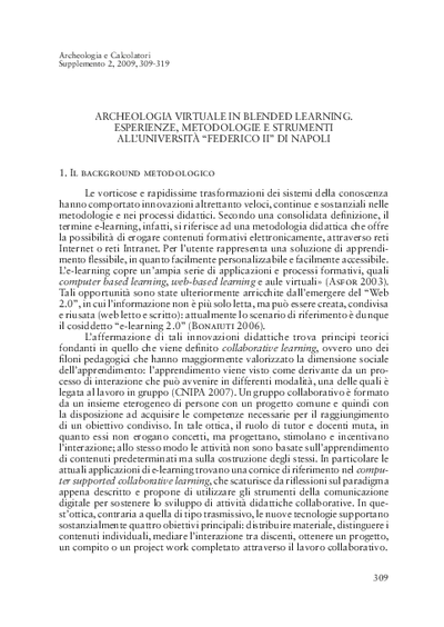 "Archeologia virtuale in blended learning. Esperienze, metodologie e strumenti all'Università ""Federico II"" di Napoli"
