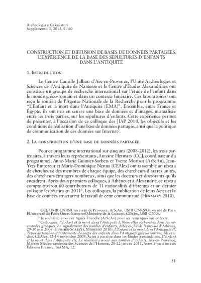 Construction et diffusion de bases de données partagées: l'expérience de la base des sépultures d'enfants dans l'antiquité