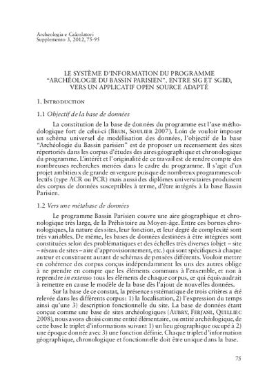 Le système d'information du programme 'Archéologie du Bassin parisien'. Entre SIG et SGBD, vers un applicatif Open Source adapté