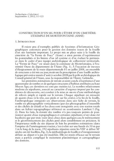 Construction d'un SIG pour l'étude d'un cimetière: l'exemple de Mortefontaine (Aisne)