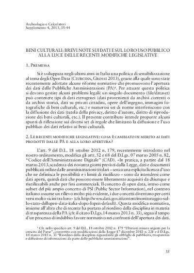 Beni culturali: brevi note sui dati e sul loro uso pubblico alla luce delle recenti modifiche legislative