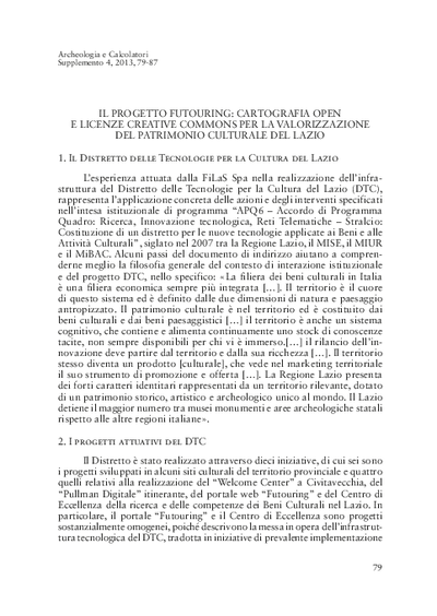 Il progetto Futouring. Cartografia open e licenze Creative Commons per la valorizzazione del patrimonio culturale del Lazio