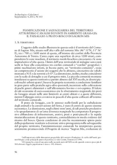 Pianificazione e salvaguardia del territorio attraverso l'analisi di fonti in ambiente GRASS-GIS: il paesaggio a prato-bosco di Sagron Mis