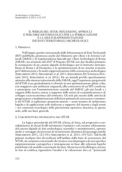 Il webGIS del SITAR: riflessioni, approcci e percorsi metodologici per la pubblicazione e la multi-rappresentazione dei dati territoriali archeologici