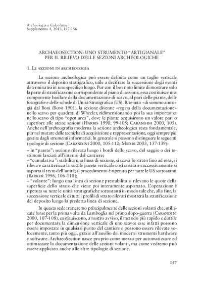 ArchaeoSection: uno strumento artigianale per il rilievo delle sezioni archeologiche