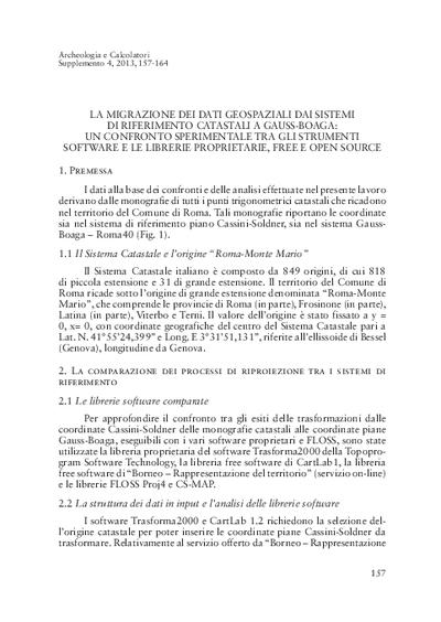 La migrazione dei dati geospaziali dai sistemi di riferimento catastali a Gauss-Boaga: un confronto sperimentale tra gli strumenti software e le librerie proprietarie, free e open source