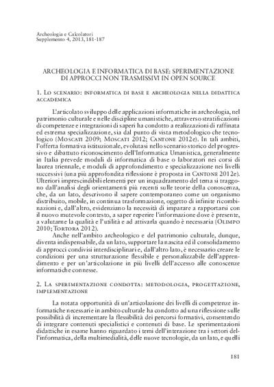 Archeologia e informatica di base: sperimentazione di approcci non trasmissivi in open source
