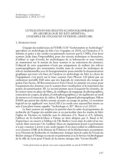 L'utilisation des relevés scannographiques en archéologie du bâti médiéval: l'exemple de l'église de Veyrines (Ardèche)