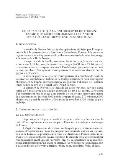 De la tablette PC à la cartographie de terrain: exemple de méthodologie sur le chantier d'archéologie préventive de Noyon (Oise)