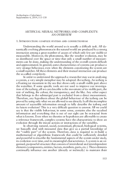 Artificial neural networks and complexity: an overview