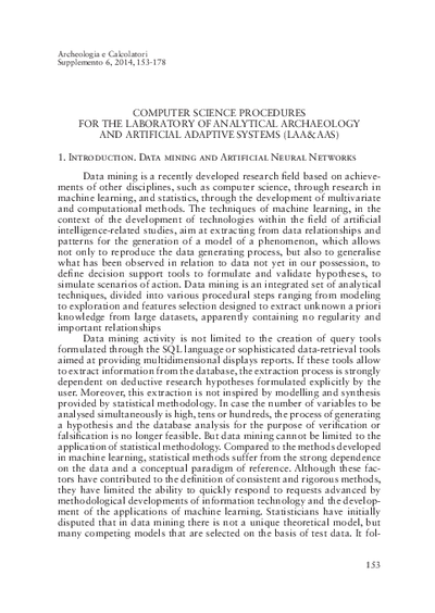 Computer science procedures for the Laboratory of Analytical Archaeology and artificial adaptive systems (LAA and AAS)