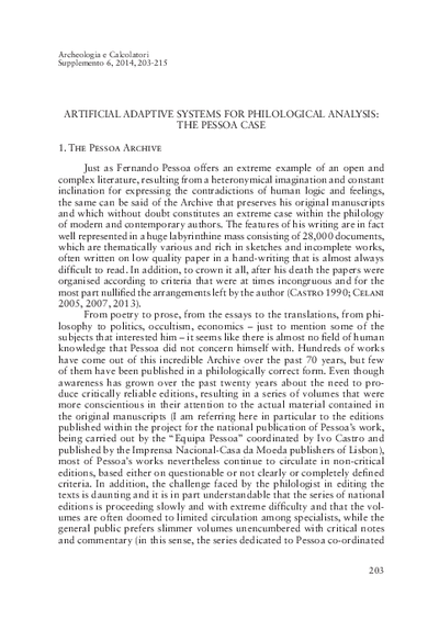Artificial adaptive systems for philological analysis: the Pessoa case