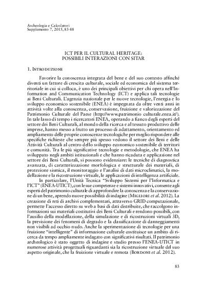 ICT per il Cultural Heritage: possibili interazioni con SITAR.