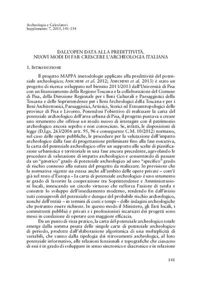 Dall'Open Data alla predittività. Nuovi modi di far crescere l'archeologia italiana.