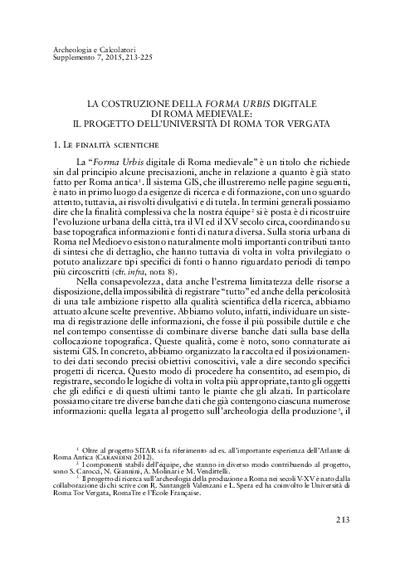 La costruzione della Forma Urbis digitale di Roma medievale: il progetto dell'Università di Roma Tor Vergata.
