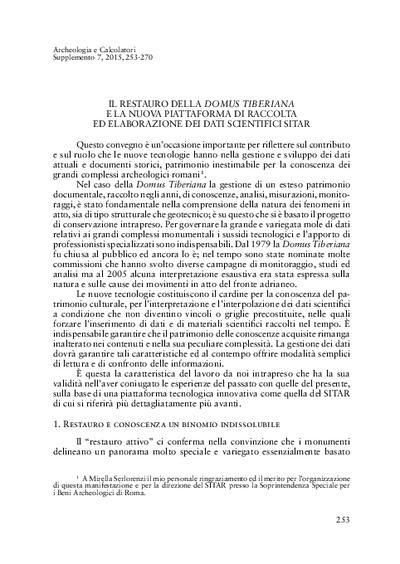 Il restauro della Domus Tiberiana e la nuova piattaforma di raccolta ed elaborazione dei dati scientifici SITAR.