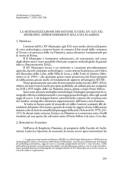 La sistematizzazione dei dati del II e del XV (già XX) Municipio: approfondimenti sulla via Flaminia.