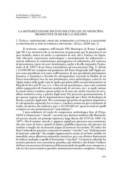 La sistemizzazione dei dati dell'VIII (già XI) Municipio: prospettive di ricerca e sviluppo.