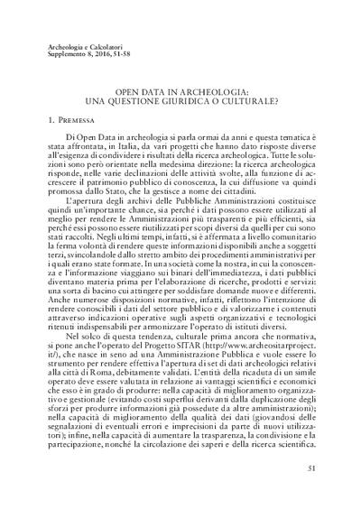 Open Data in archeologia: una questione giuridica o culturale
